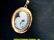 14KT Cameo Gold-Stone Pendant LOCKET 14K Yellow Gold 7.1g